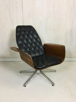 additional images for Black Vinyl Mulhauser Lounge Chair