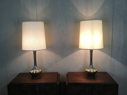 additional images for Pair of Mid Century Large Silver Metal Table Lamps
