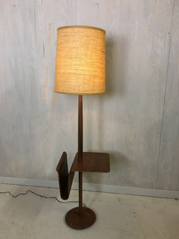 additional images for Mid Century Teak Laurel Floor Lamp with Side Table and Magazine Holder
