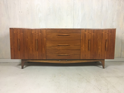 additional images for Mid Century Walnut Lowboy Bureau with Nautical Cleat Pulls