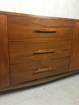 additional images for SALE -Mid Century Walnut Lowboy Bureau with Nautical Cleat Pulls