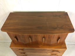 additional images for Mid Century Walnut Highboy with Nautical Cleat Pulls