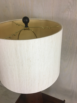 additional images for 1960s Teak Table Lamp with Brass Inset Decoration