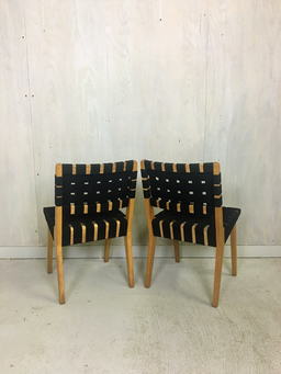 additional images for Pair of Jens Risom Webbed Maple Side Chairs
