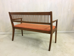 additional images for Mid Century Walnut Upholstered Bench