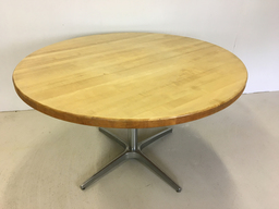 additional images for Round Maple Dining Table with Chrome Base for Workbench