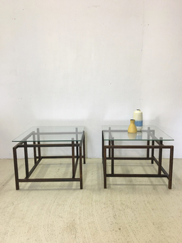 additional images for Pair of Henning Norgaard Danish Modern Rosewood and Glass Side Tables for Komfort