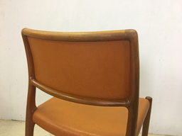 Moller Teak and Leather Dining Chairs Model 80
