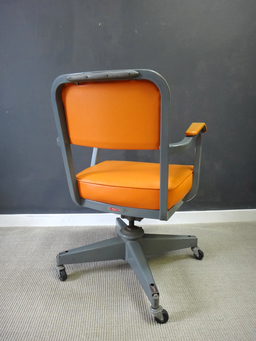 additional images for Vintage Orange Vinyl Office Chair