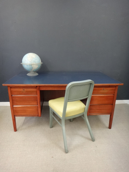 additional images for Mid Century Teak Desk with Blue Laminate Top