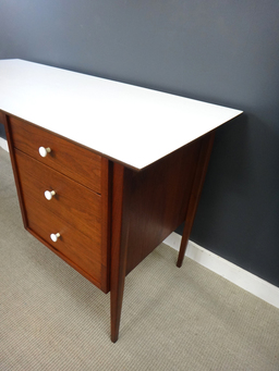 additional images for Mid Century Teak and White Laminate Desk