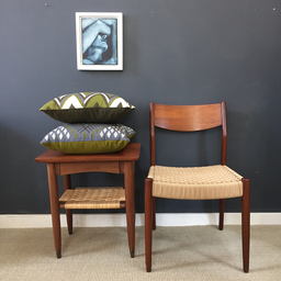 additional images for Mid Century Side Table with Woven Shelf
