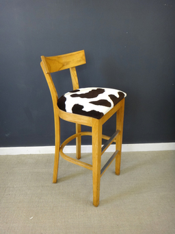 additional images for Reupholstered Vintage Wood Bar Stools