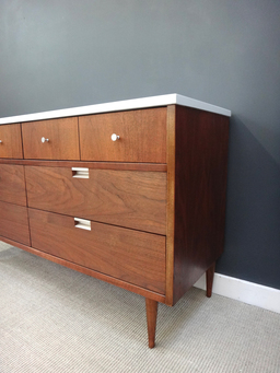 additional images for Petit Mid Century Bassett Dresser with Painted Top