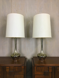 Pair of Mid Century Large Silver Metal Table Lamps