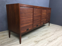 Rare Walnut Vertical Tambour Door Credenza
