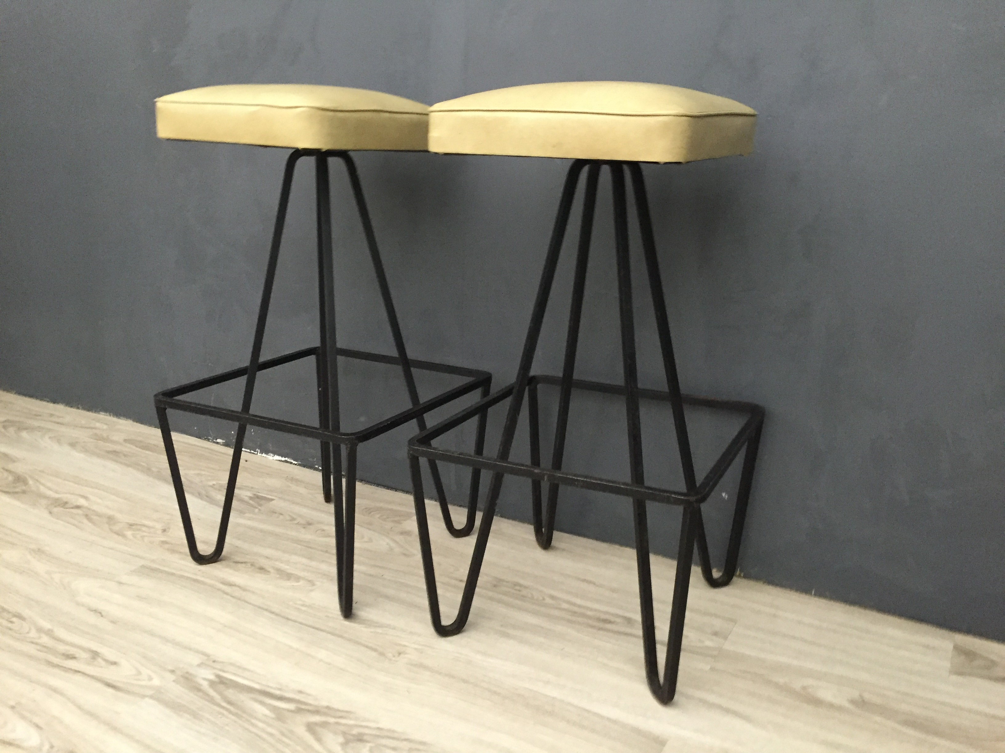 SALE - Weinberg Upholstered Cast Iron Barstools